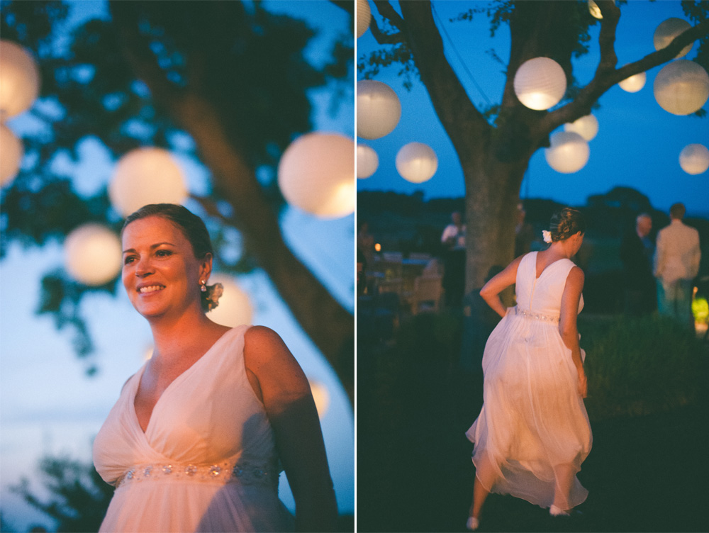 fall outdoor wedding reception at dusk in new york