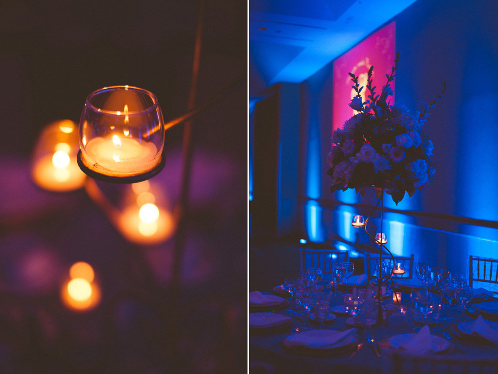 fine art wedding photographer captures elegant wedding reception details at Hilton in Parsippany NJ