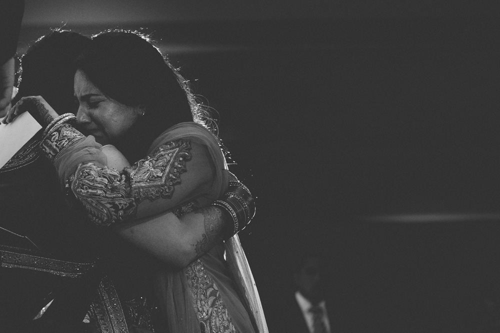 black and white Indian wedding photos capturing emotional moment