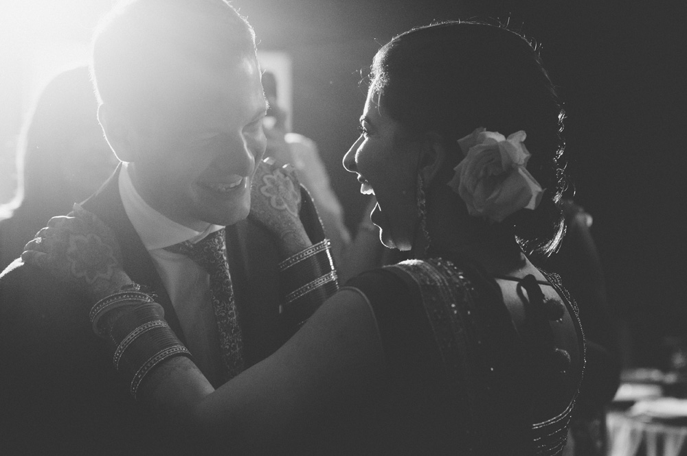 black and white creative wedding photography of cultural wedding reception in New Jersey