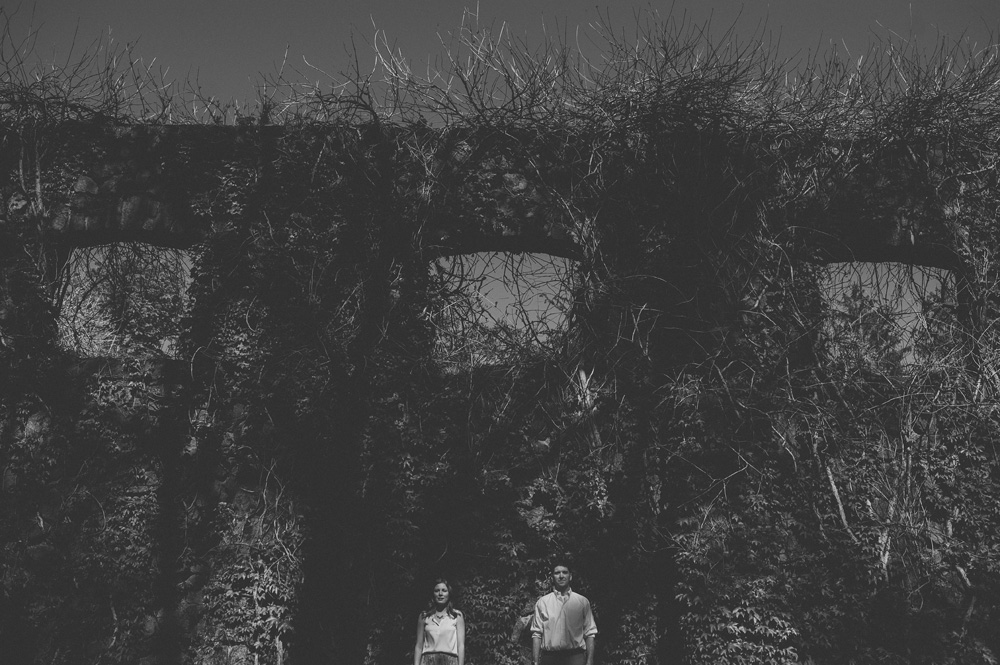 fine art wedding photography engagement photos in black and white in rustic nj park