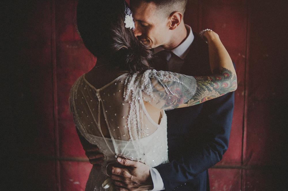 factory wedding photos