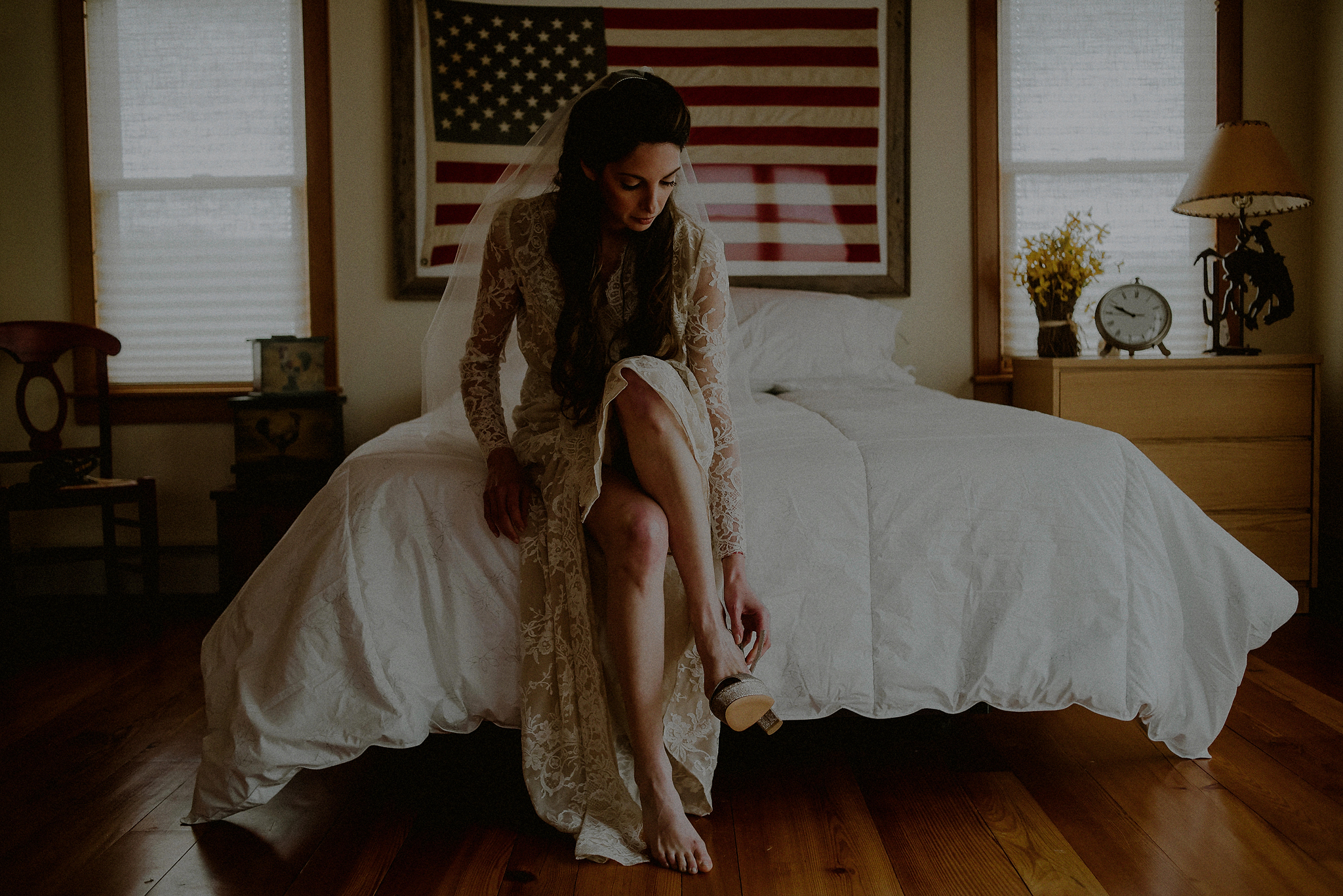 bride and american flag