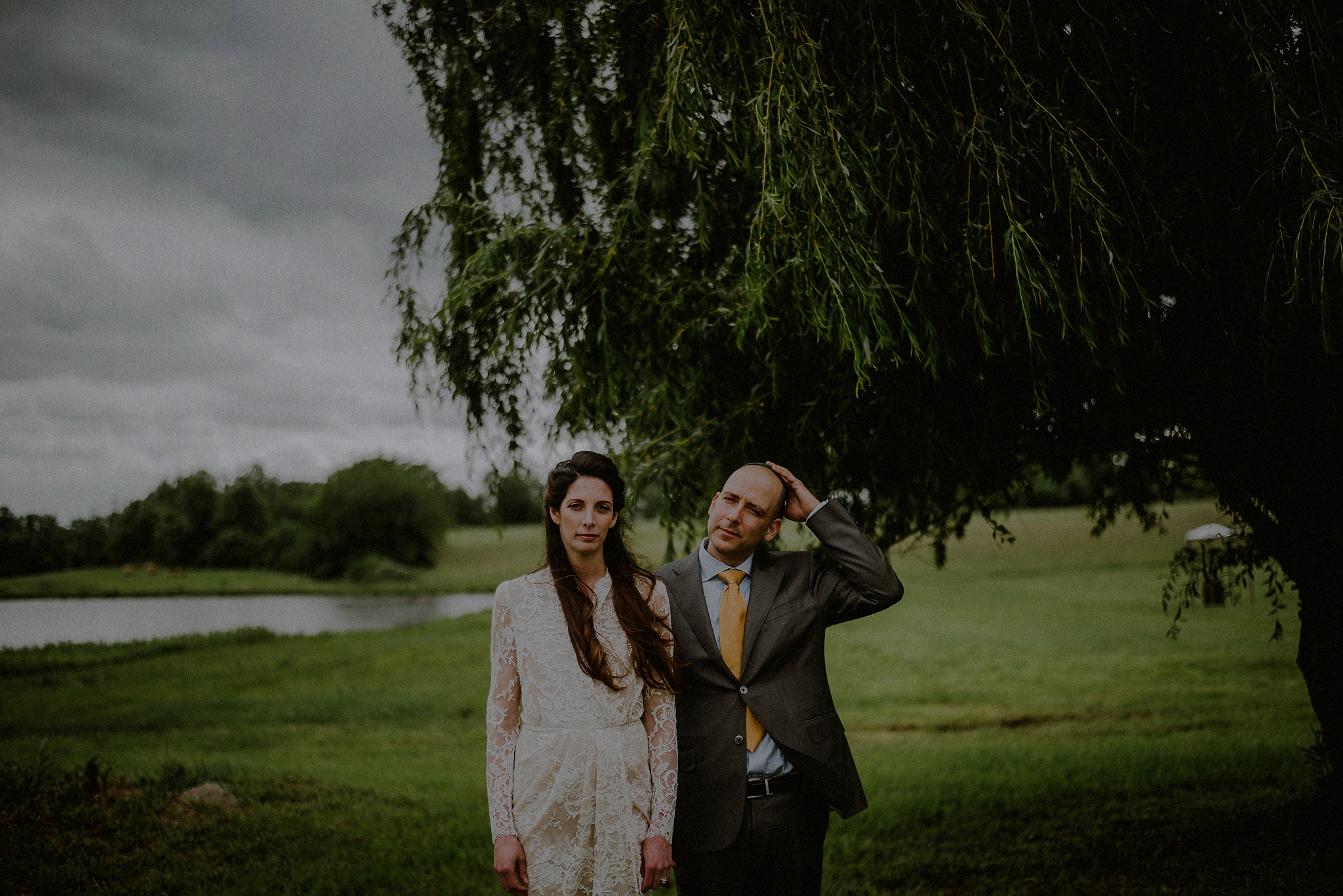 rustic bride and groom portrait