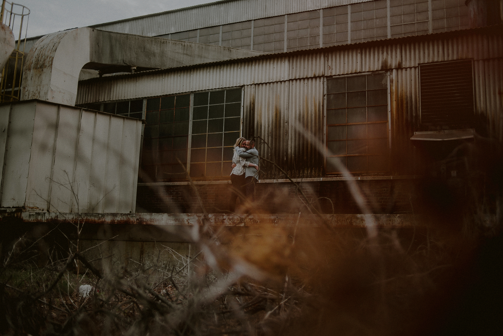 couple in grungy landscape