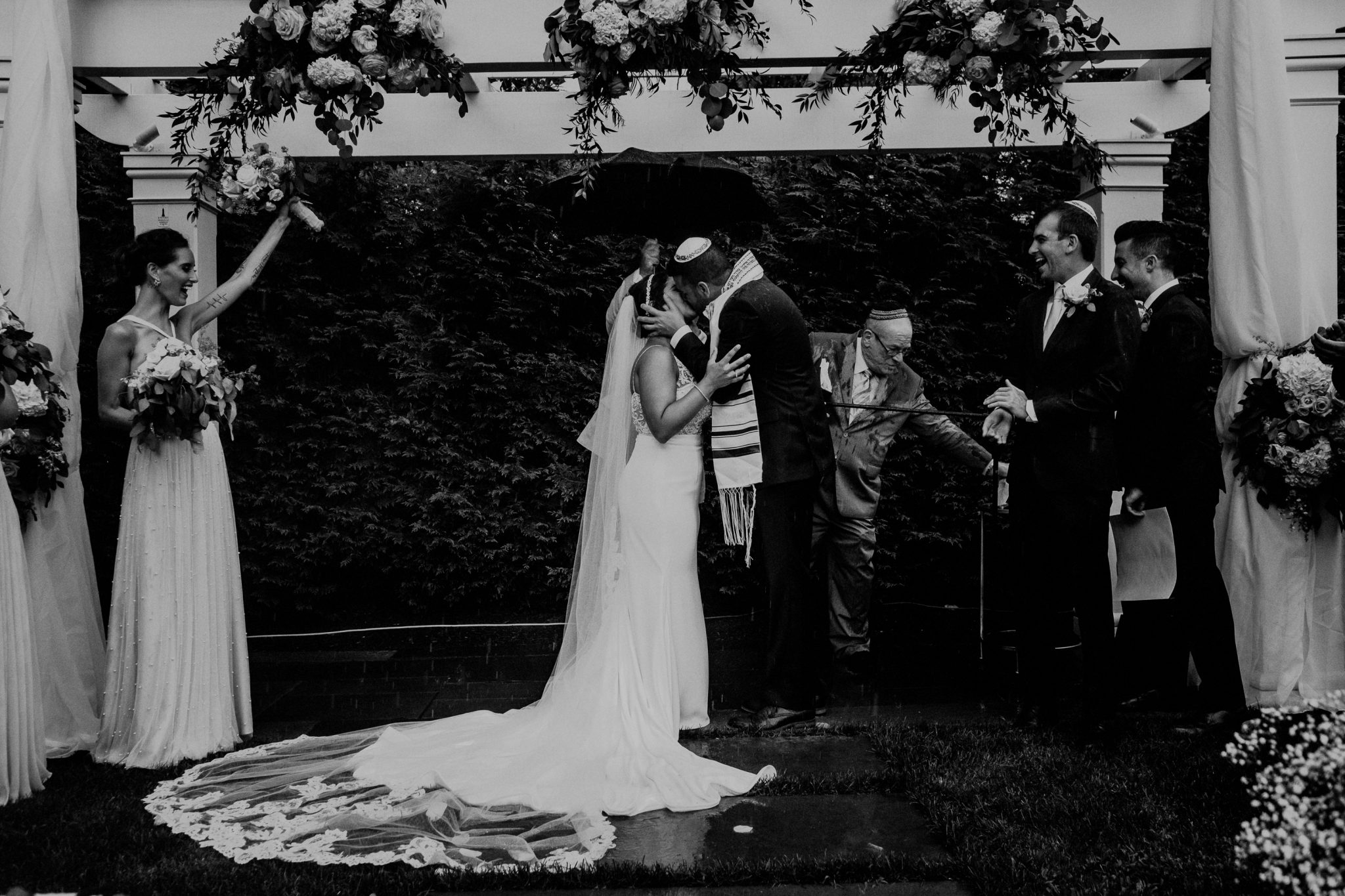 rainy outdoor wedding ceremony
