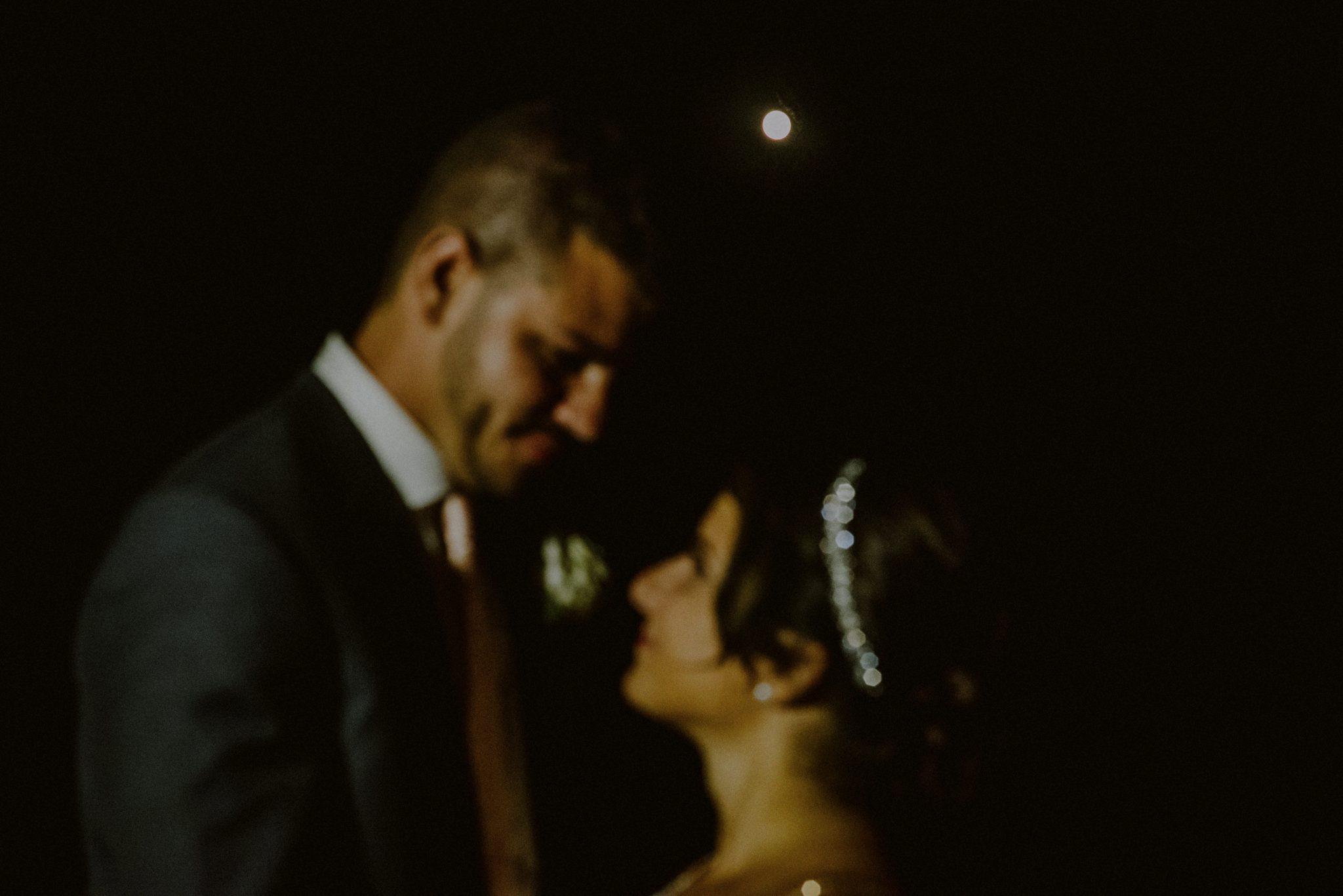 full moon bride and groom