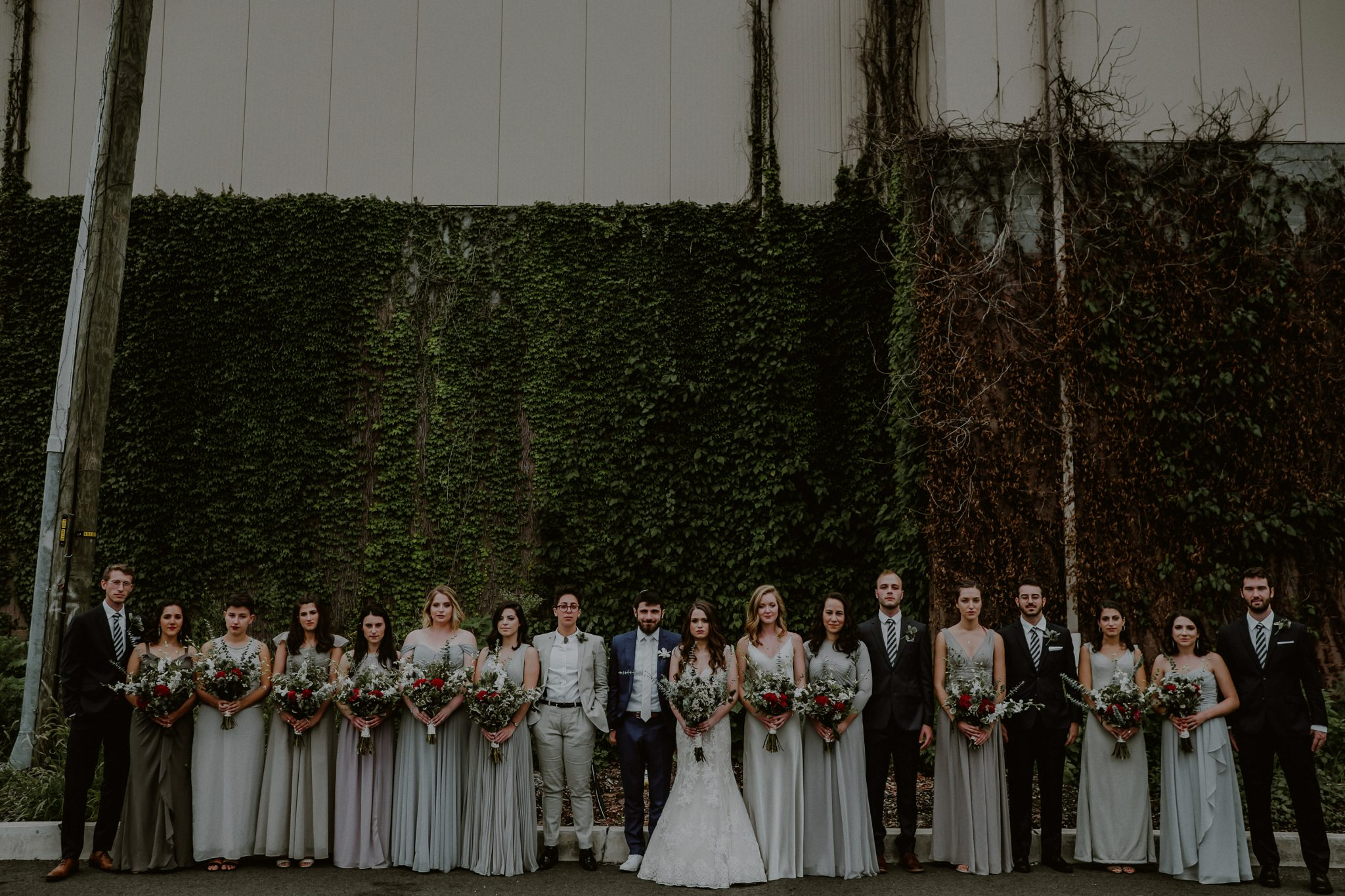 large bridal party portraits
