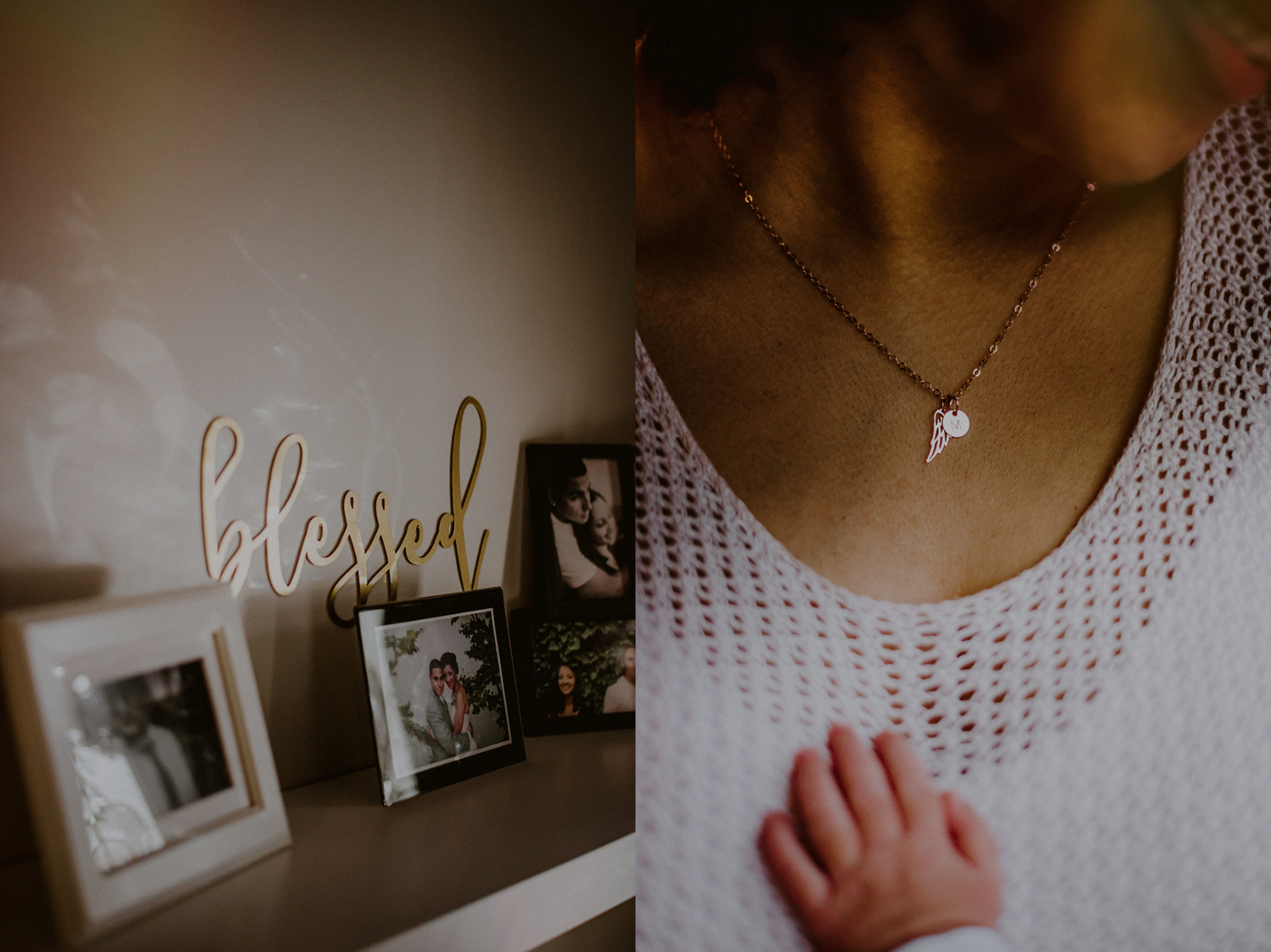 baby's hand on mother's chest juxtaposed next to blessed sign on wall