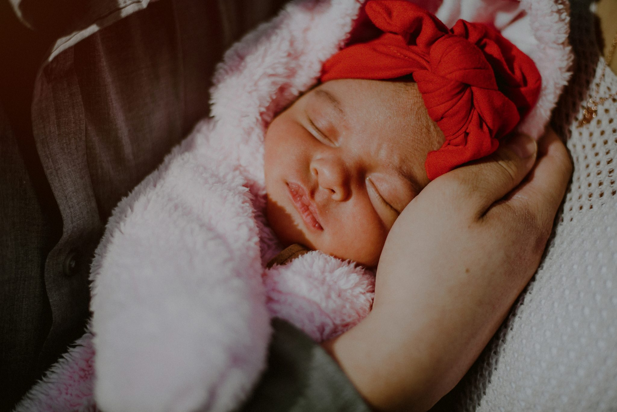close up of face in newborn portrait