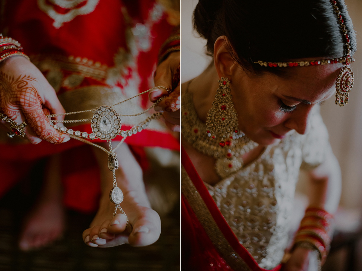 creative getting ready photos of indian bride
