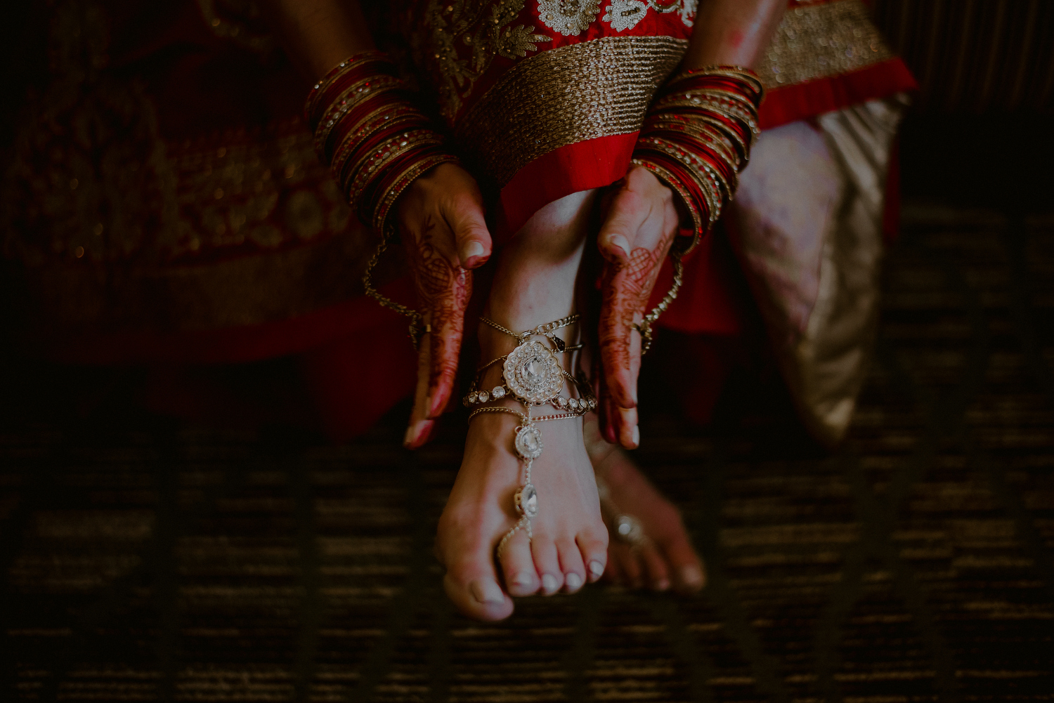 indian wedding photos of bride jewelry and shoes