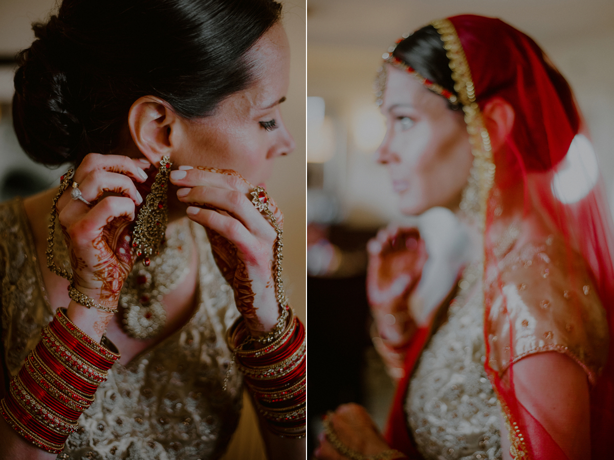 indian wedding photos of bride getting ready
