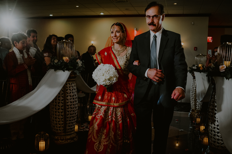 bride enters mandap in indian wedding ceremony