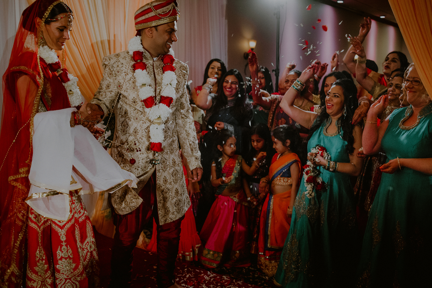 bride and groom circle fire during indian wedding rituals