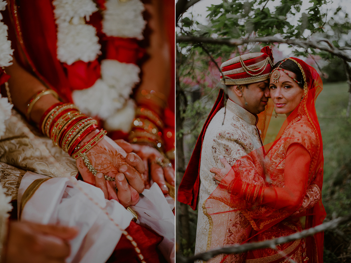 indian wedding portraits of bride and groom