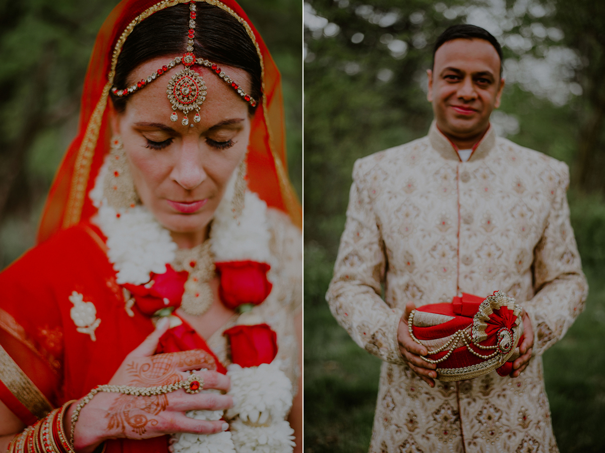 colorful indian wedding portraits of indian bride and groom