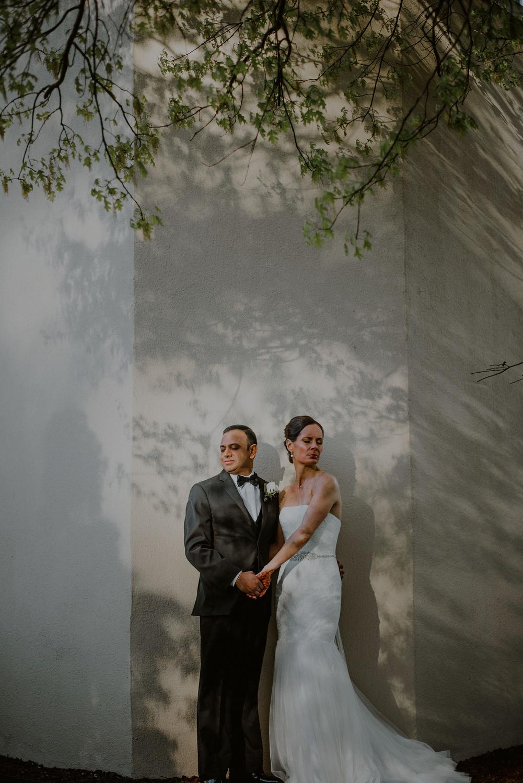 creative bride and groom wedding portrait