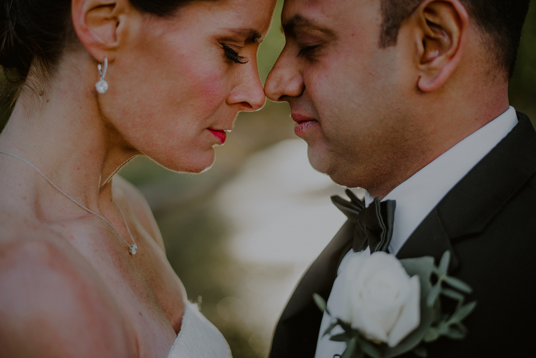 intimate bride and groom wedding portrait