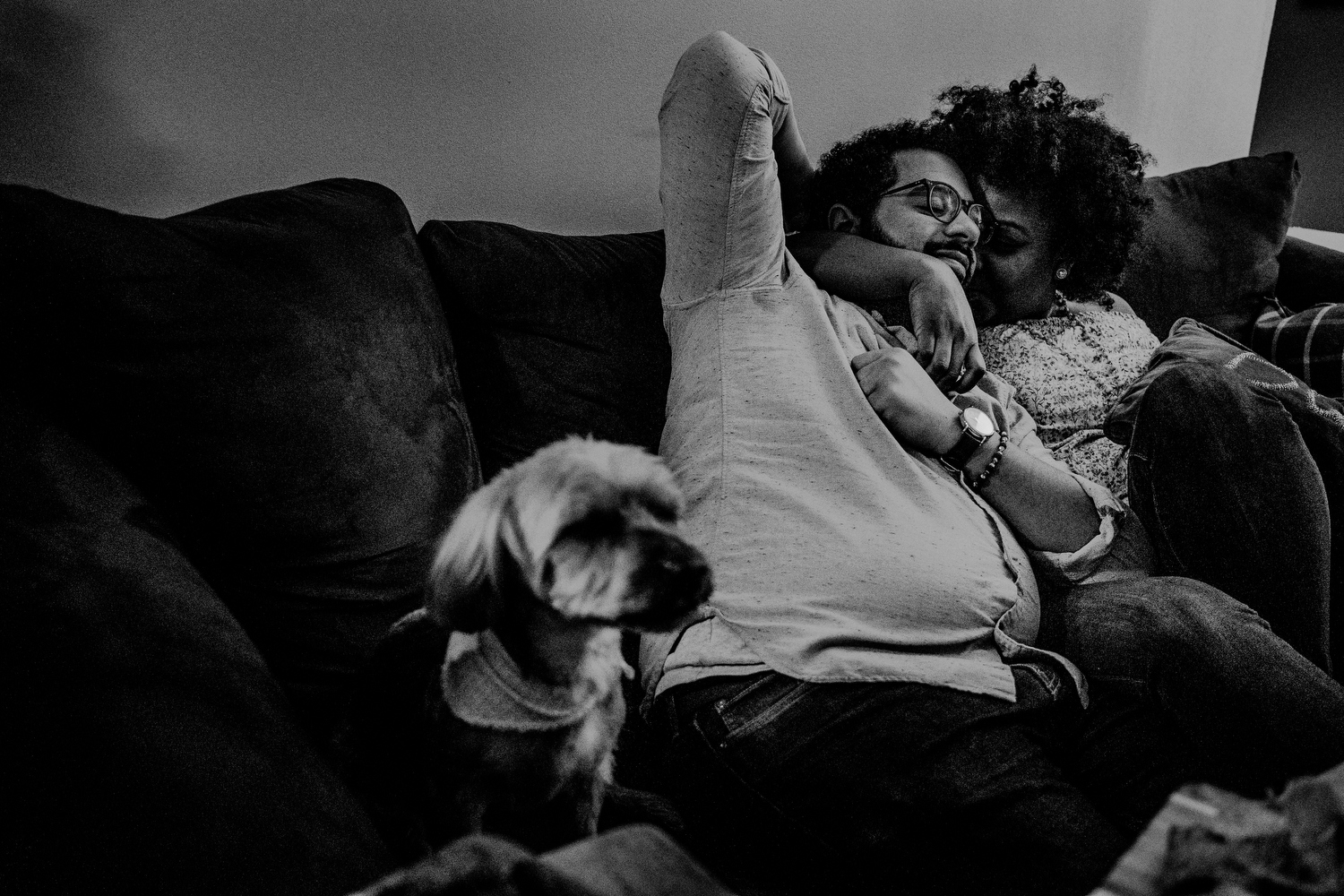 casual queens ny engagement photos with dog on couch