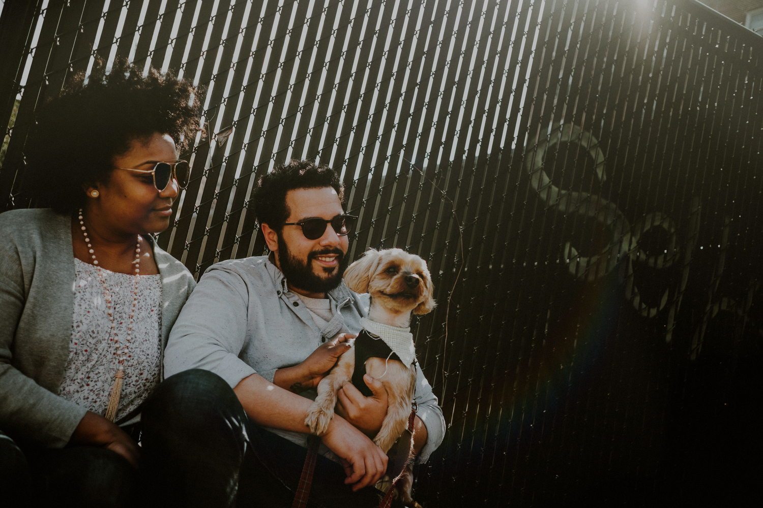 outdoor engagement pictures with couple and dog