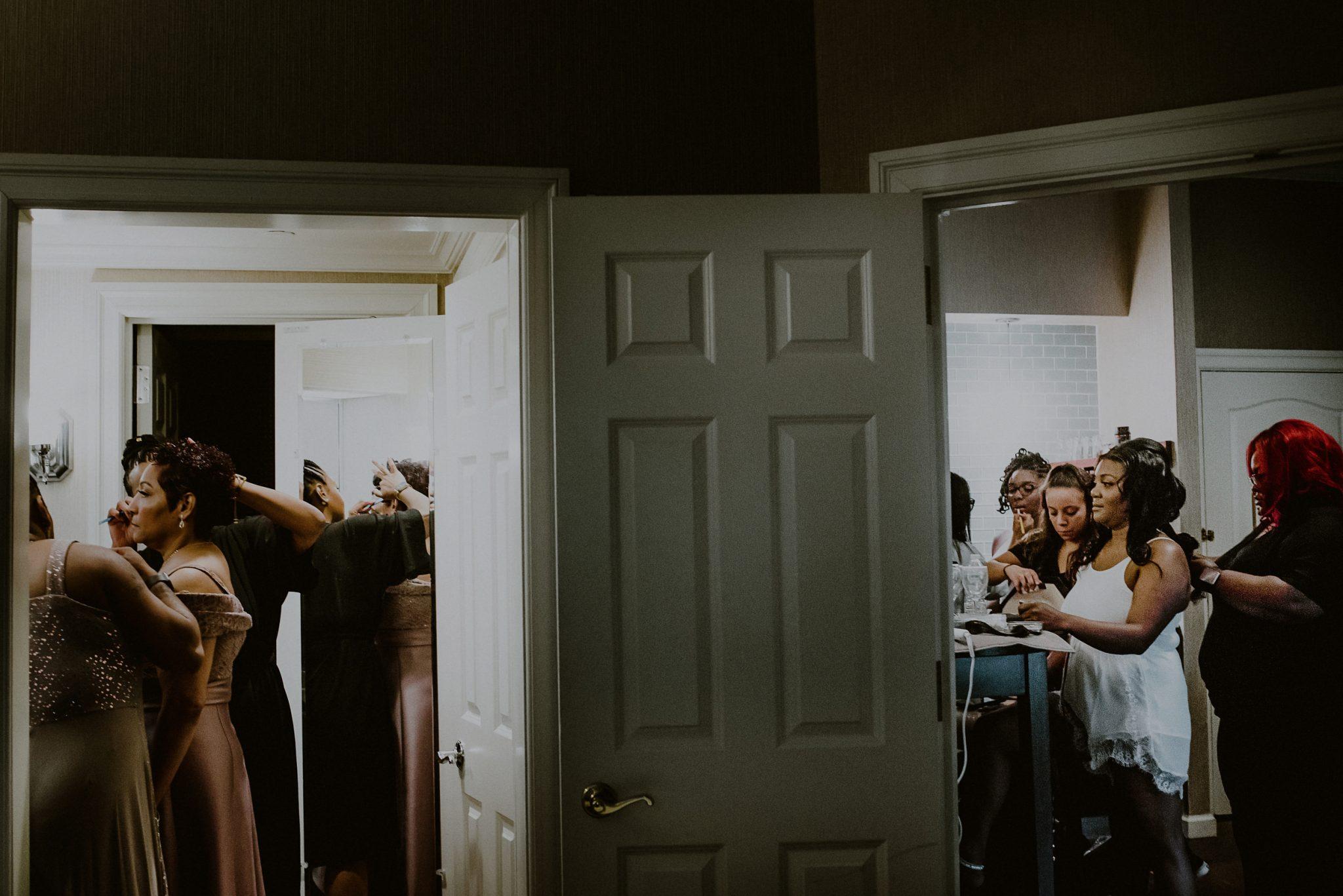 bridal party at hotel preparing for wedding at fox hollow