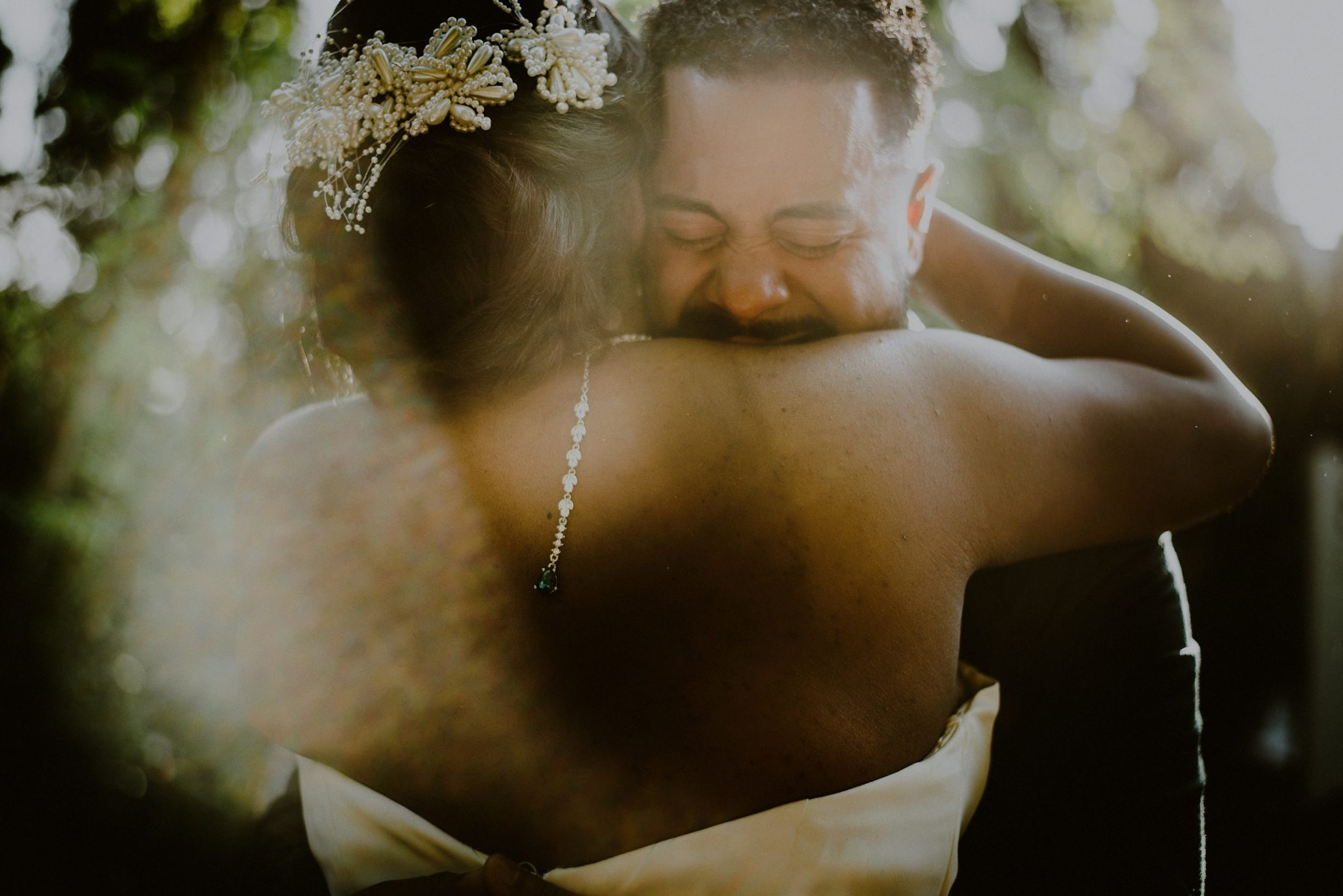 groom cries during first look