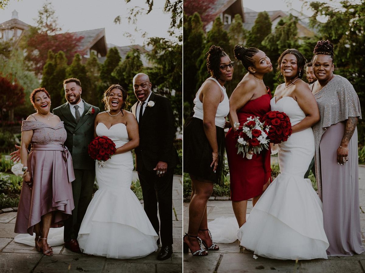 fun family wedding portraits in fox hollow wedding venue gardens