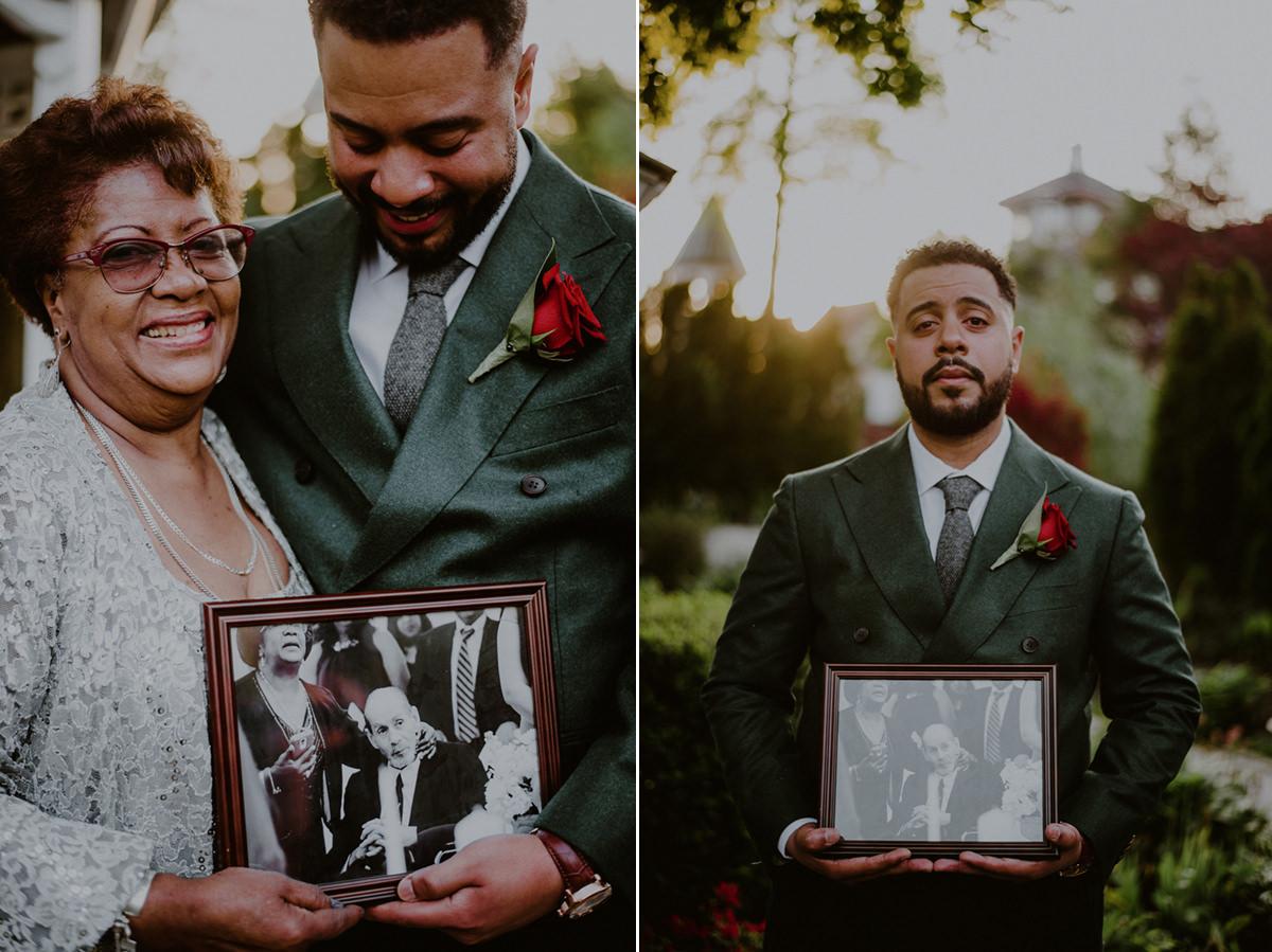 emotional family wedding portraits outside of fox hollow wedding venue gardens