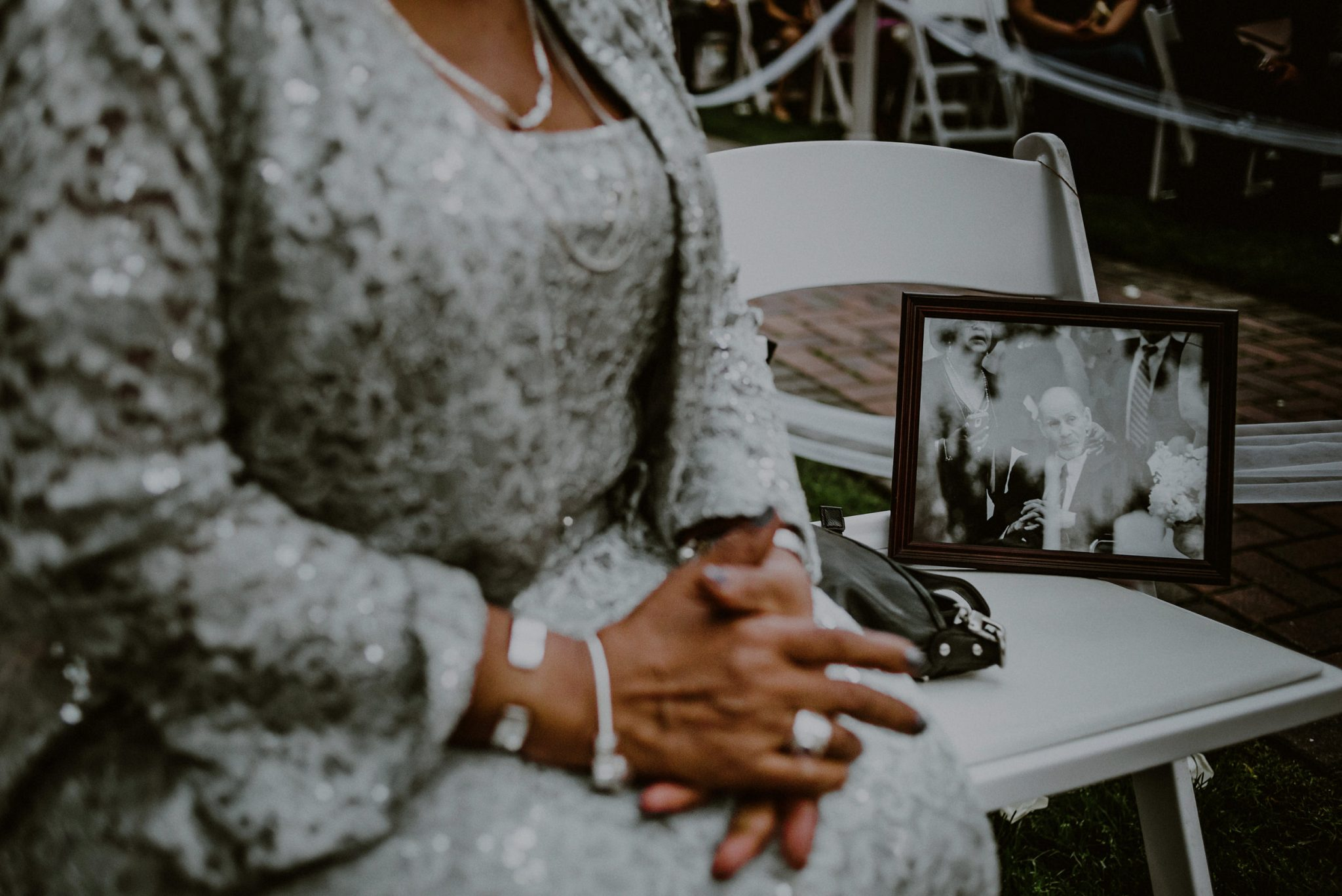 framed picture of deceased father of groom