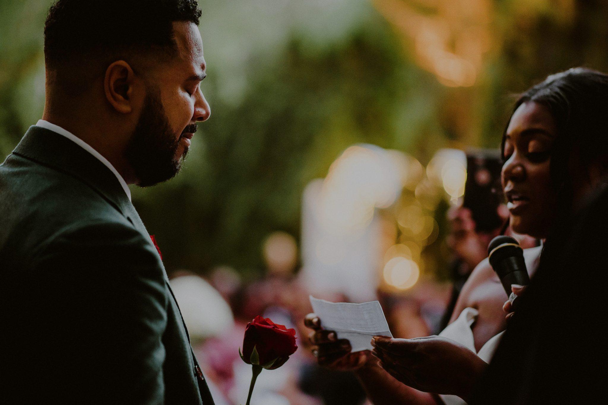 emotional wedding ceremony moment