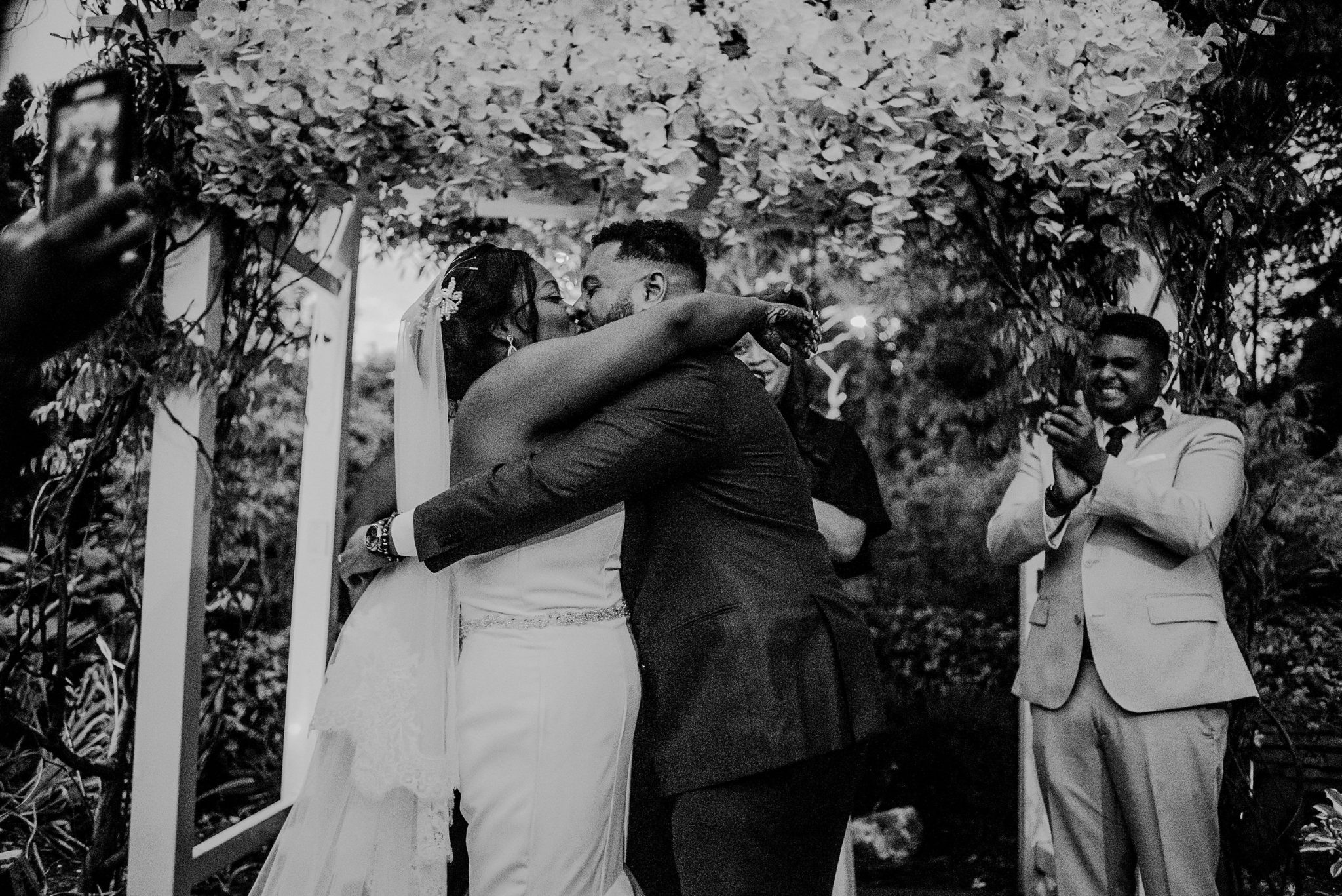 candid photo of outdoor wedding ceremony