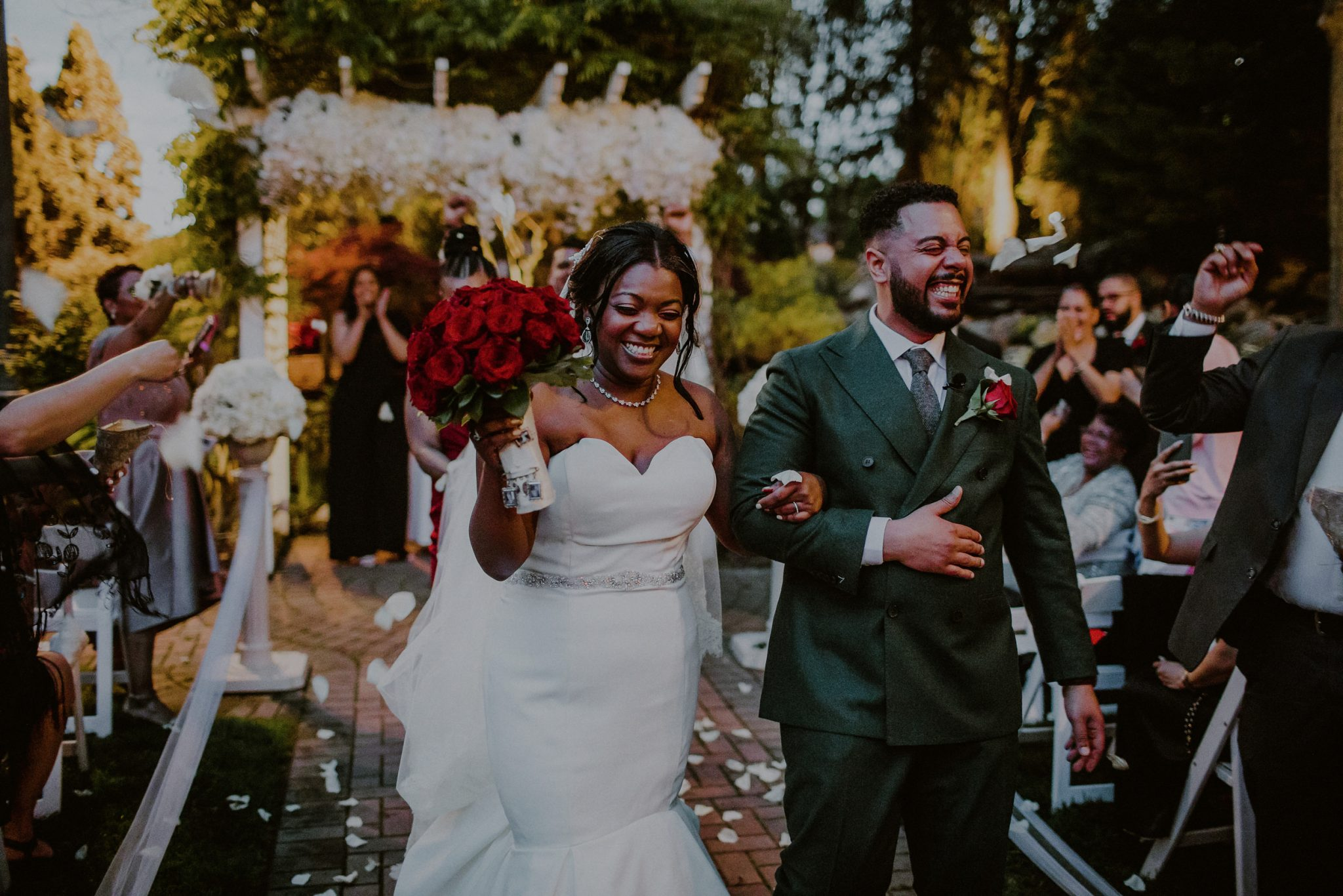 evening wedding ceremony outdoors at fox hollow
