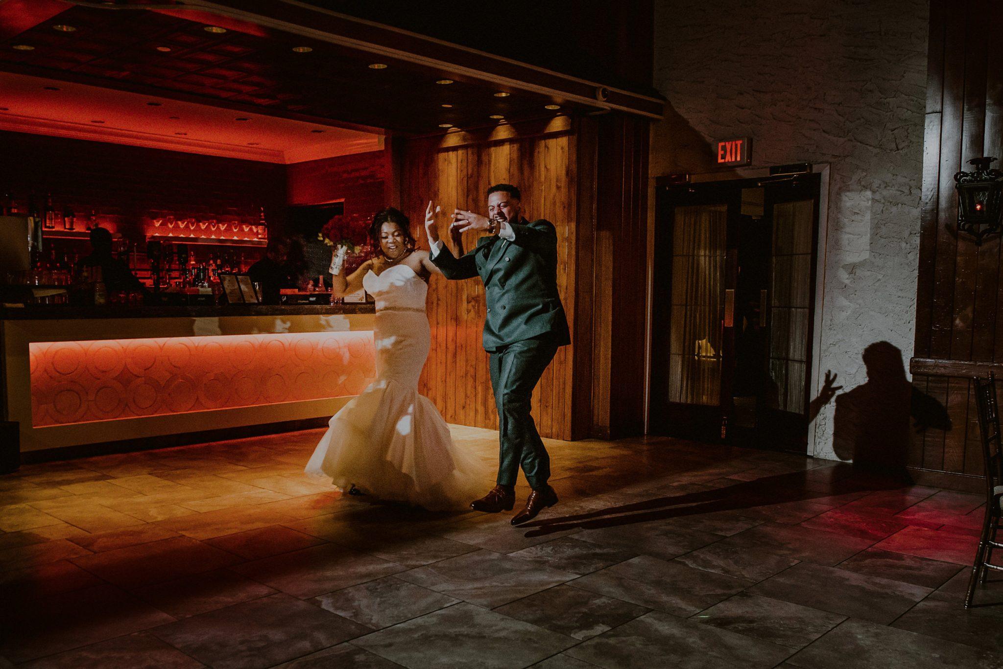bride and groom entrance to fox hollow reception room