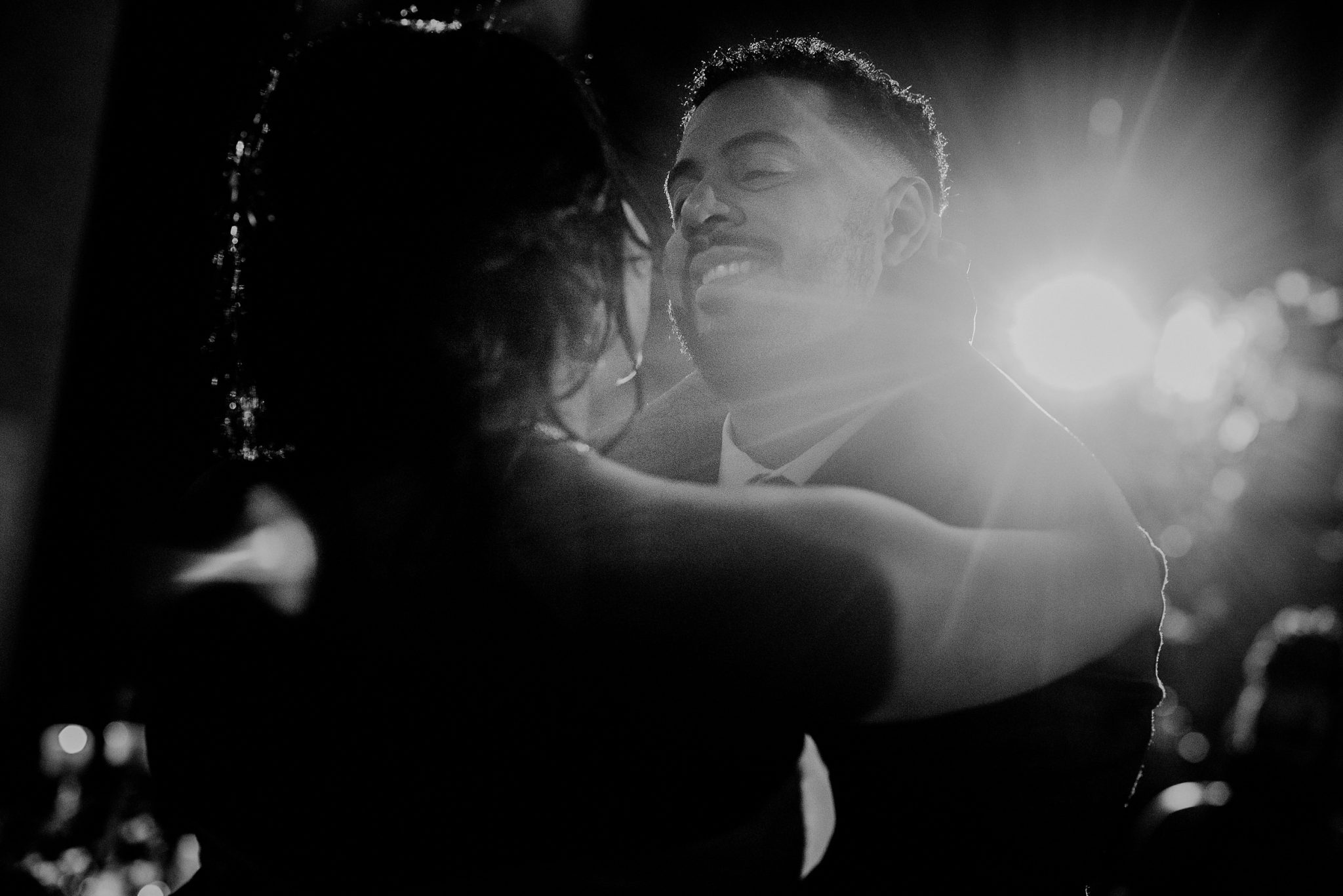 creative black and white first dance photo
