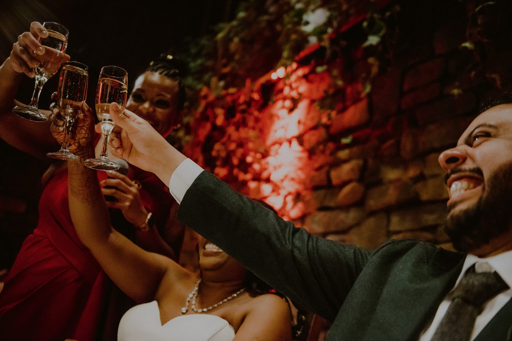 joyful expression on groom's face during toast at fox hollow