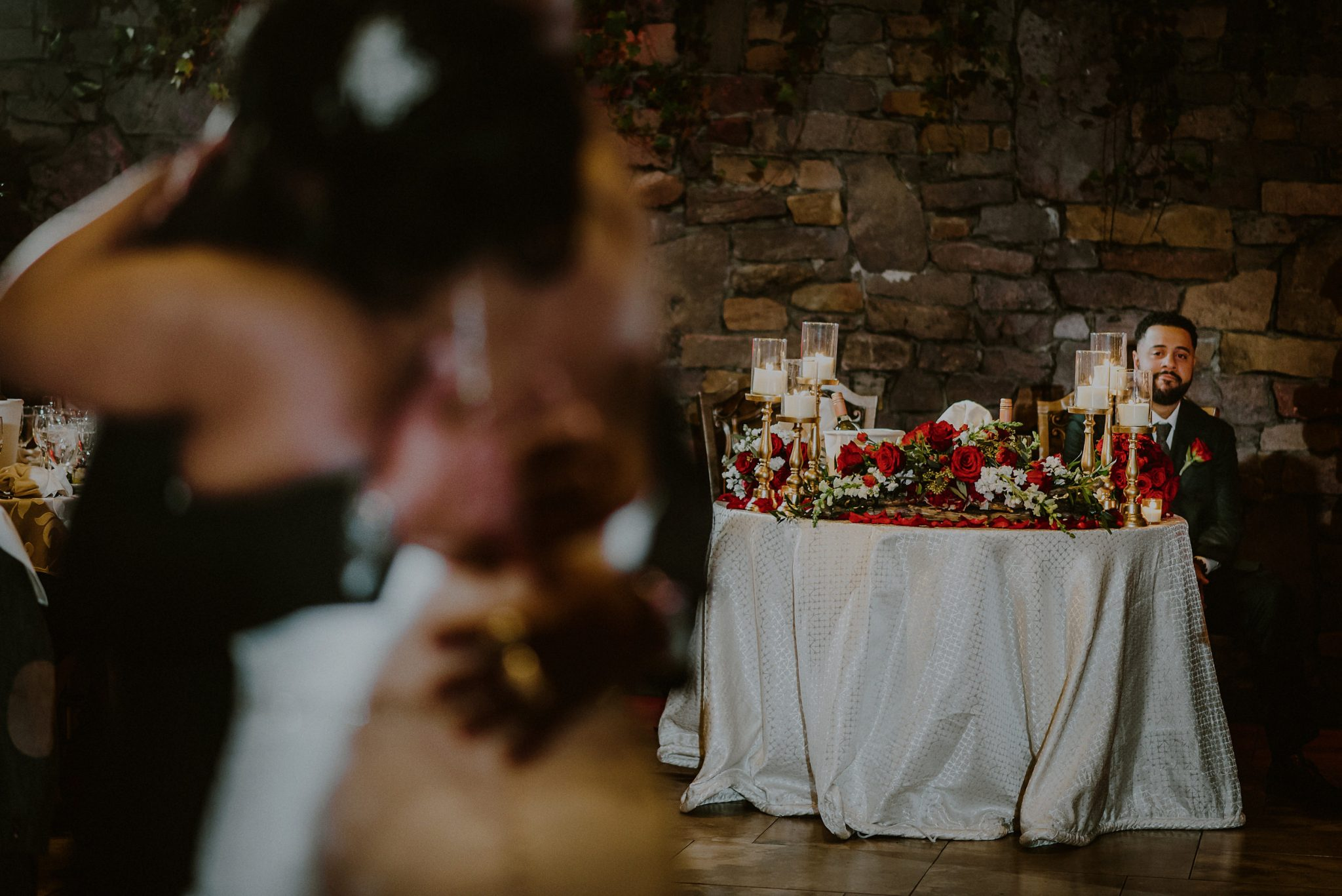 groom watching bride and father dance at fox hollow wedding venue reception