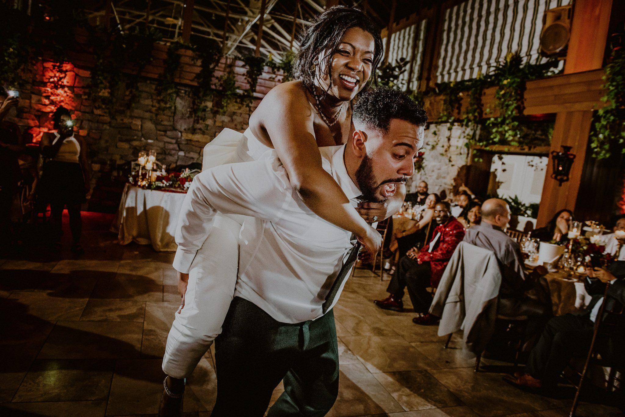 bride and groom on dance floor at fox hollow wedding reception