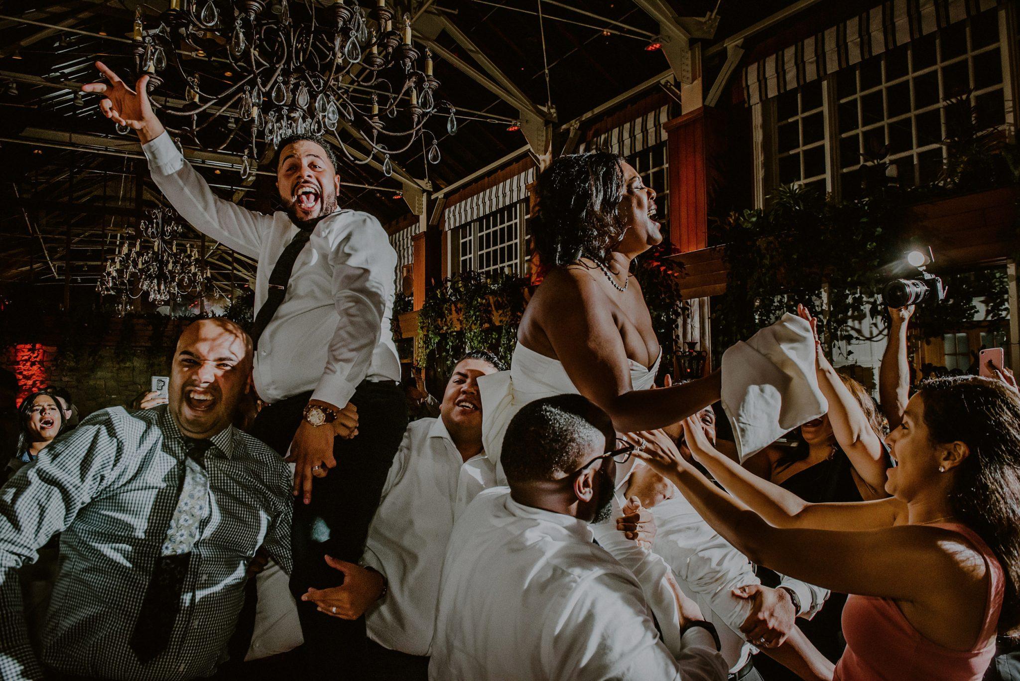 bride and groom on dance floor party at fox hollow wedding venue reception