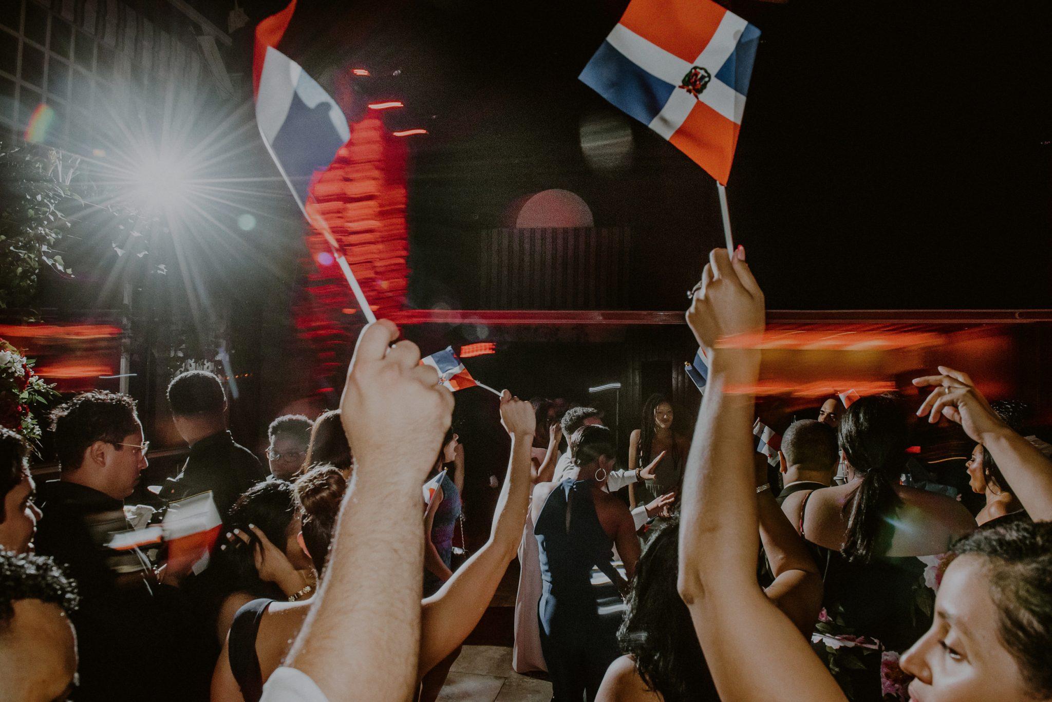 salvadorian wedding flags on dance floor at long island wedding venue fox hollow
