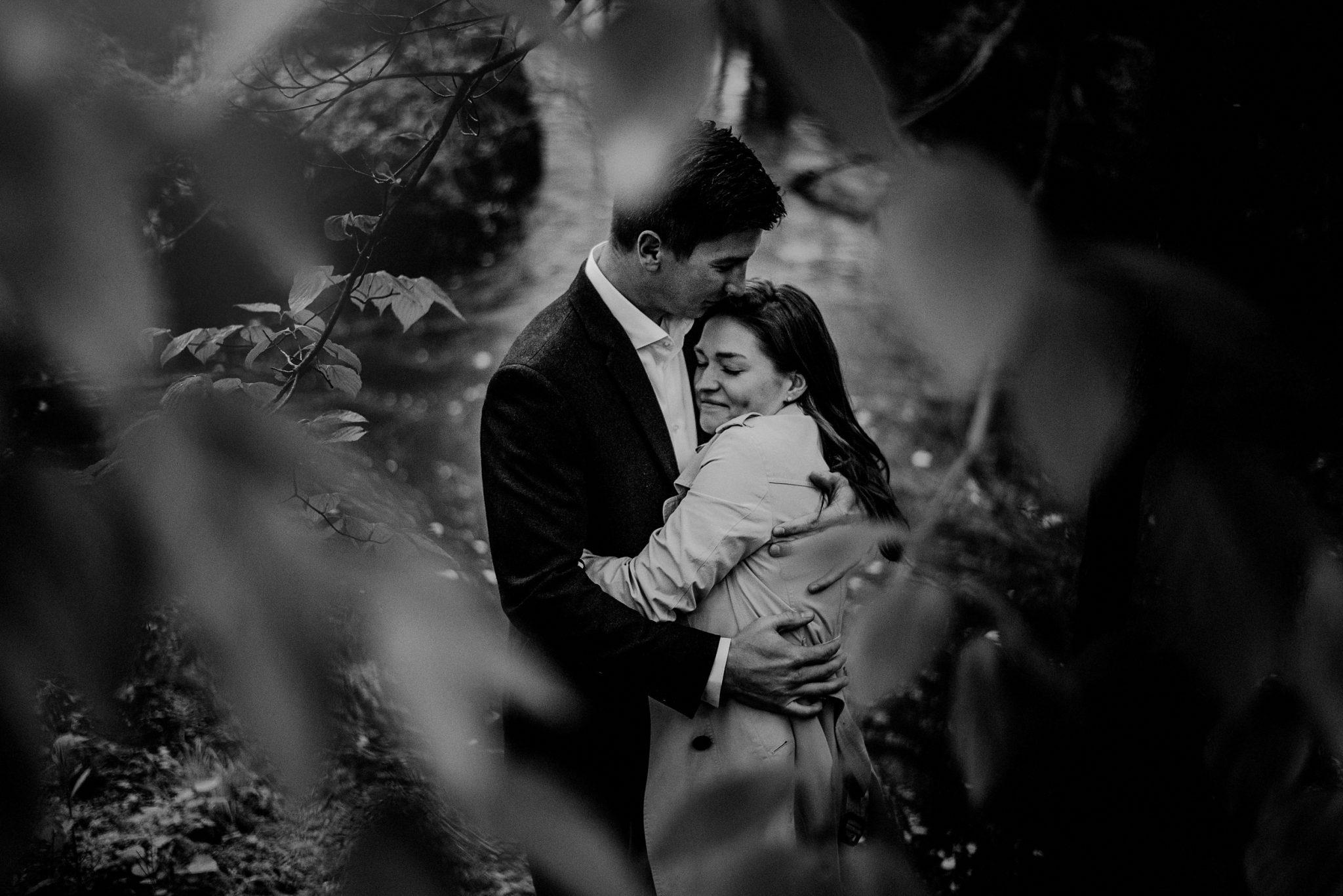 romantic engagement photo of newly engaged couple