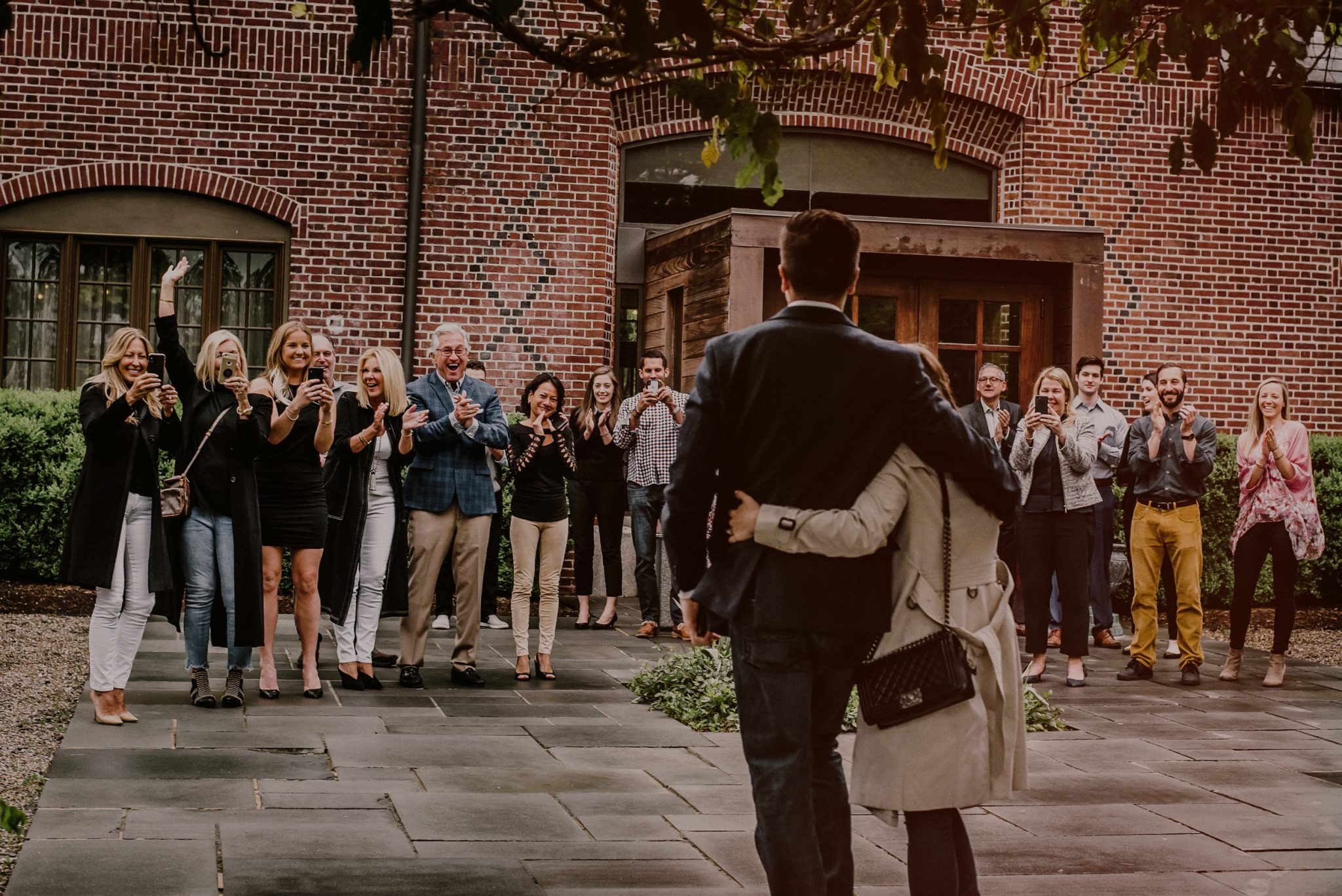 surprise proposal in front of family