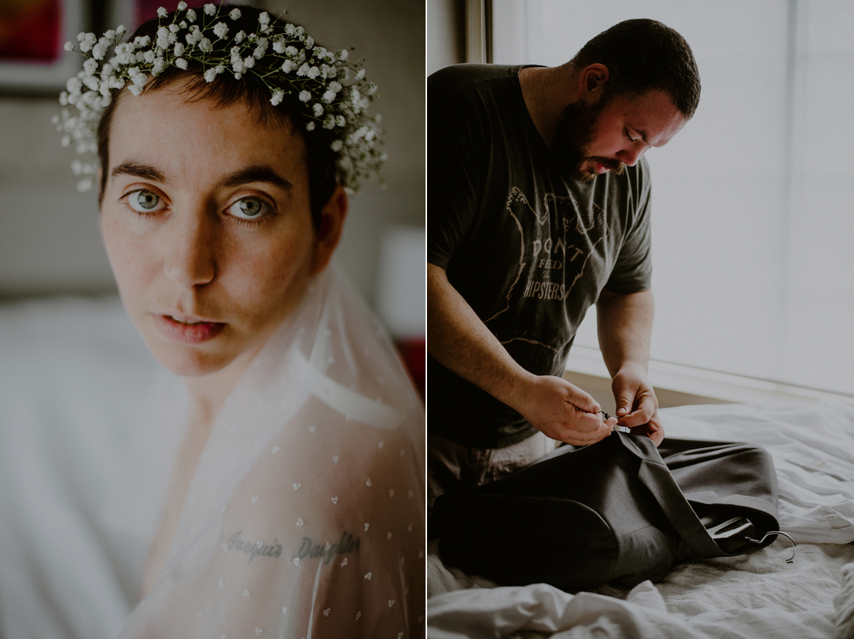 tattooed bride and groom wedding photos