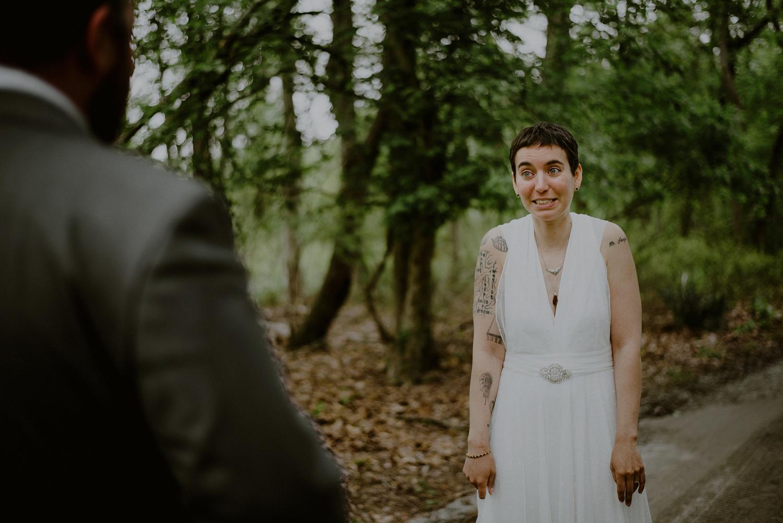 emotional first look wedding photos