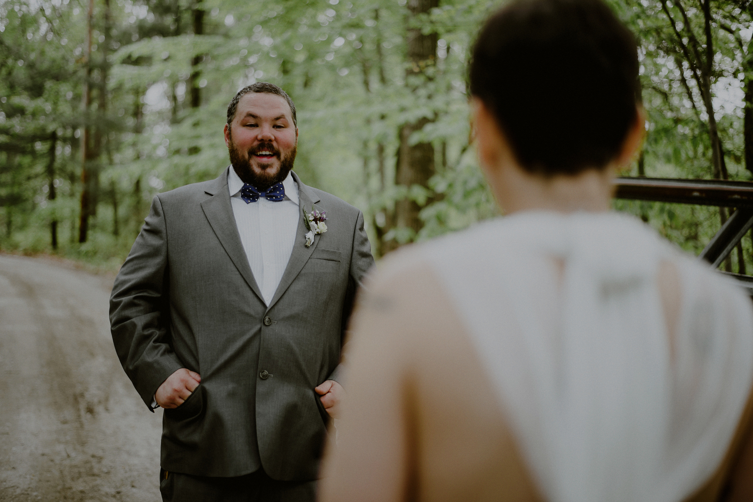 emotional wedding photography during first look