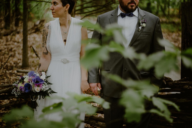 tattooed bride and groom wedding photos