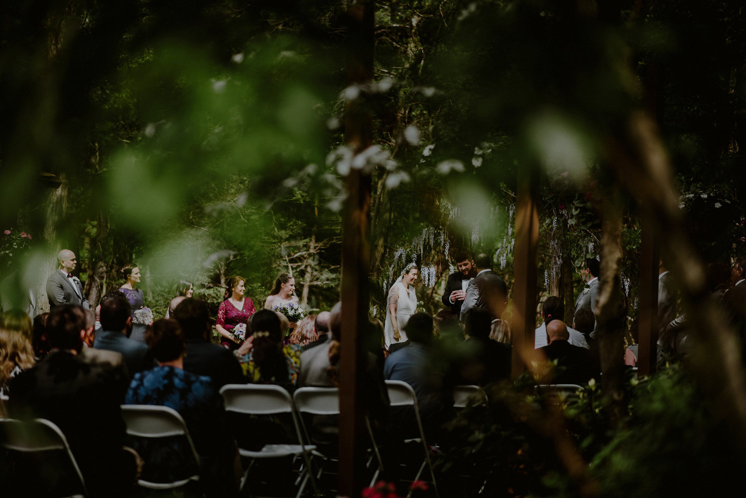 NJ backyard wedding ceremony in woods