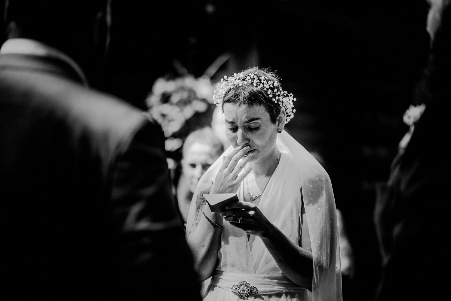 emotional black and white wedding photography during ceremony