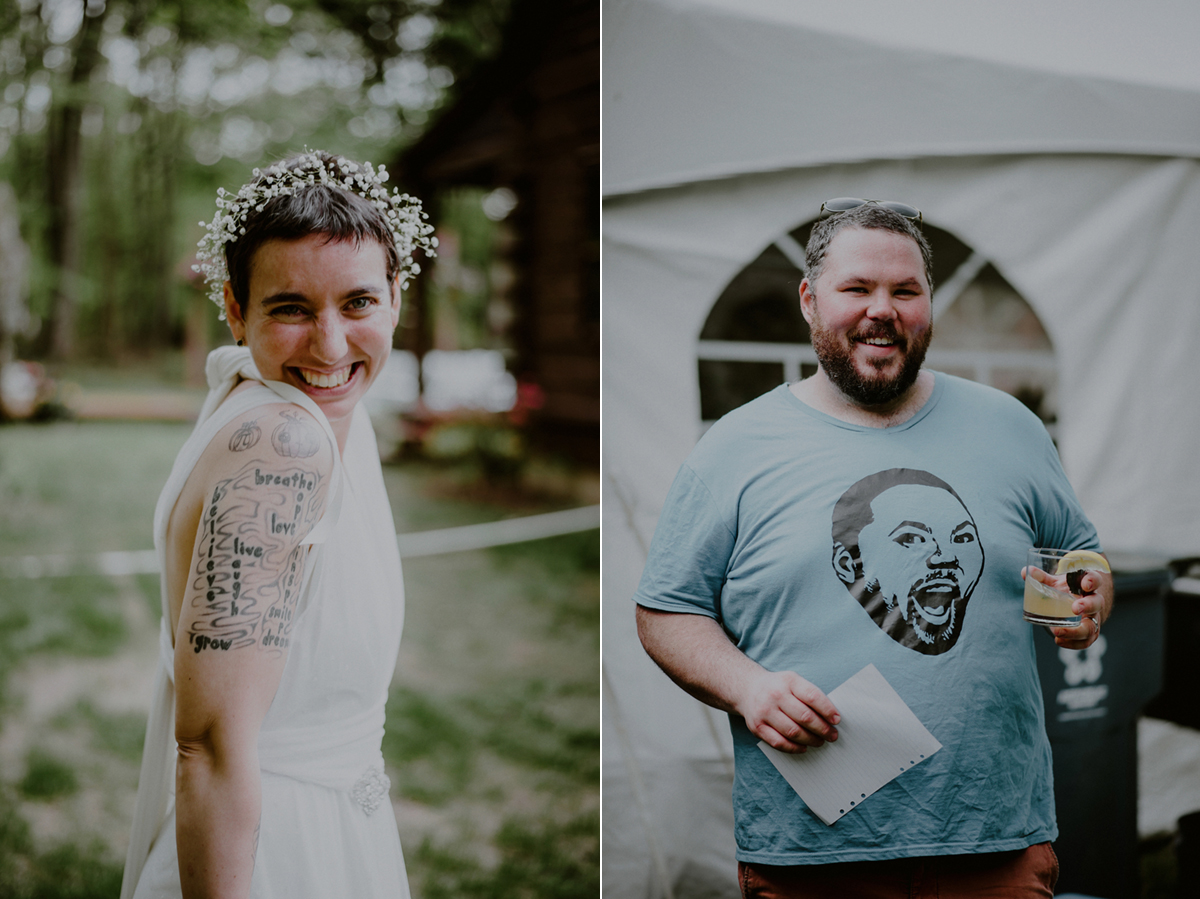 casual wedding picture of tattooed bride and groom with t-shirt