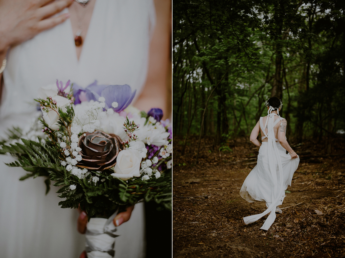 creative tattooed bride wedding photo in woods